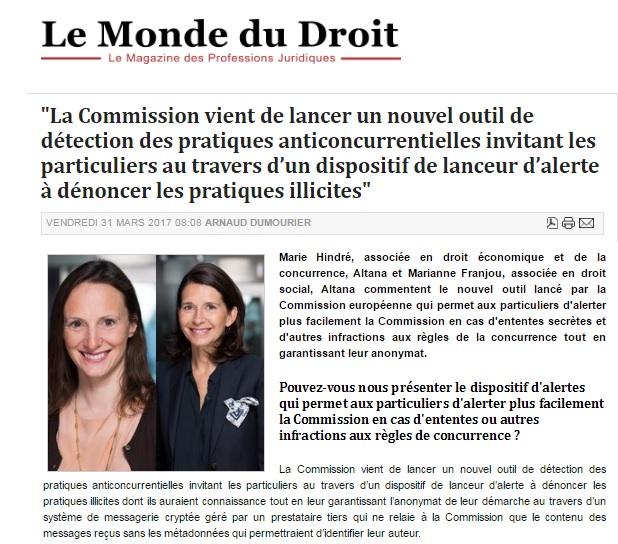 Monde du Droit - MH & MF 31.03.2017